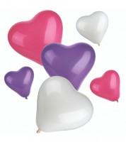Herz-Luftballon-Set - lila/pink/weiß - 12-teilig