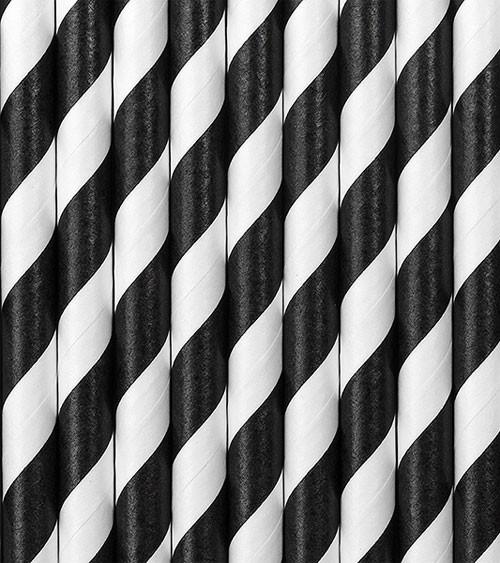 Papierstrohhalme gestreift - schwarz - 10 Stück