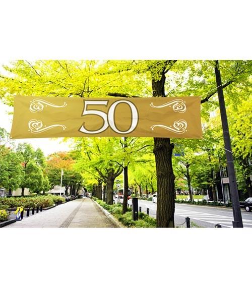 """Großer Banner aus Stoff """"50"""" - gold - 1,8 m"""