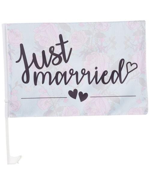 "Hochzeitsauto-Flagge "" Just Married"" - 45 x 30 cm"