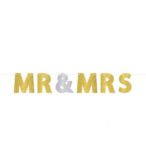 "Glitzergirlande ""Mr & Mrs"" - gold/silber"