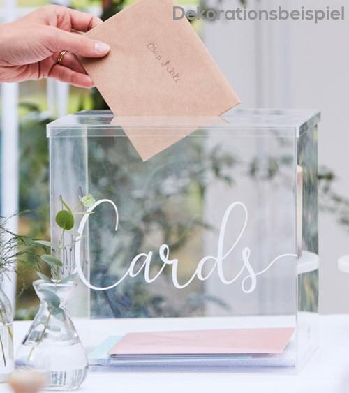 Hochzeits-Kartenbox aus transparentem Acryl - 25 x 25 cm