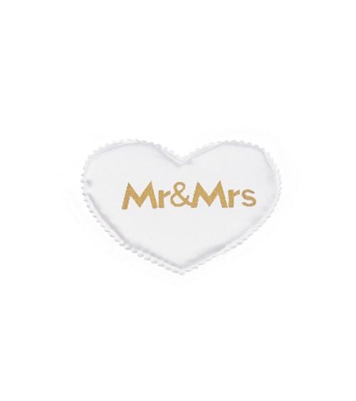 """Satin-Herzen """"Mr & Mrs"""" - weiß/gold - 5 cm - 12 Stück"""