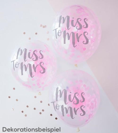 """Transparente Ballons mit pinkem Konfetti """"Miss to Mrs"""" - 5 Stück"""