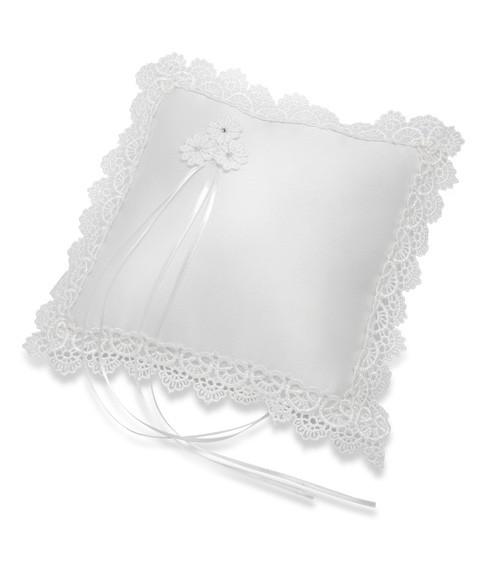 Ringkissen aus Satin mit Spitzenrand - weiß - 21 x 21 cm