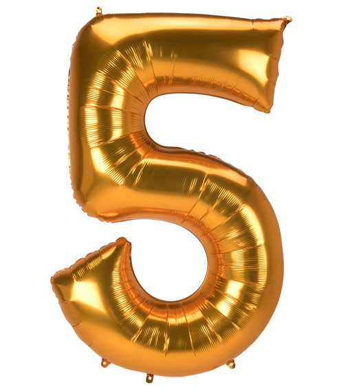 "JumboShape-Folienballon Zahl ""5"" - gold - 86 x 132 cm"