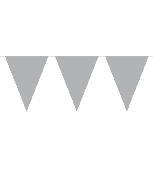 Wimpelgirlande aus Kunststoff - silber - 10m