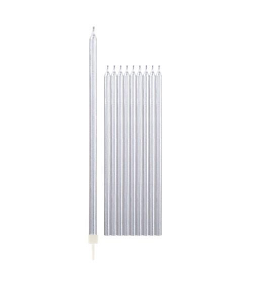 Lange Kuchenkerzen - metallic silber - 15,5 cm - 10 Stück