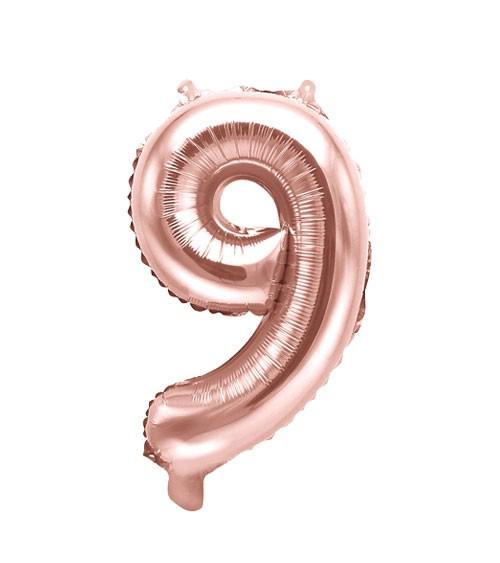 "Folienballon Zahl ""9"" - rosegold - 35 cm"
