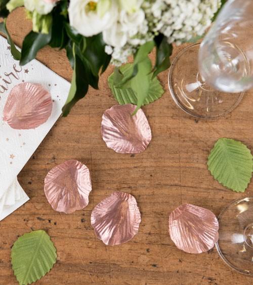 Rosenblätter-Mix aus Stoff - rosegold - 100 Stück