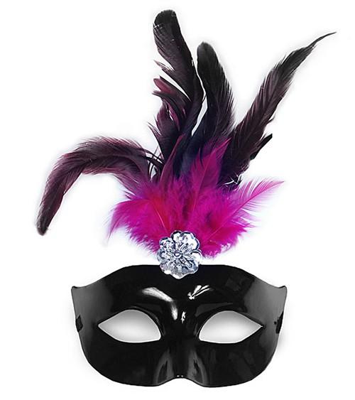 Venezianische Maske mit schwarz-pinken Federn - schwarz