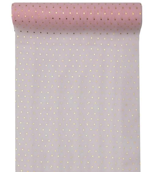 "Tischläufer ""Goldene Punkte"" - rosa - 26 cm x 3 m"