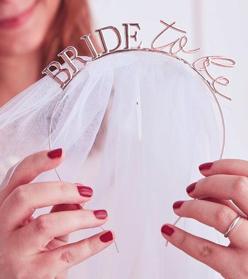 Bride to be-Haarreif aus Metall mit Schleier - rosegold