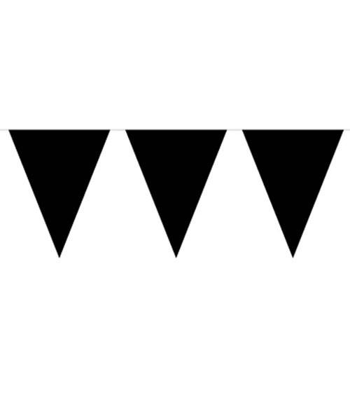 Wimpelgirlande aus Kunststoff - schwarz - 10 m