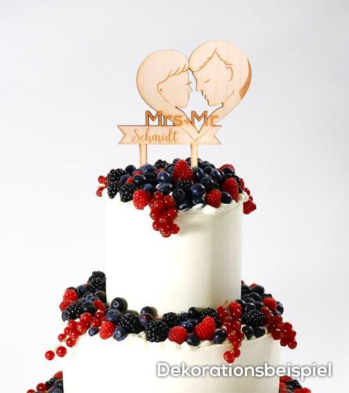 """Dein Cake-Topper """"True Love"""" aus Holz - Wunschtext"""