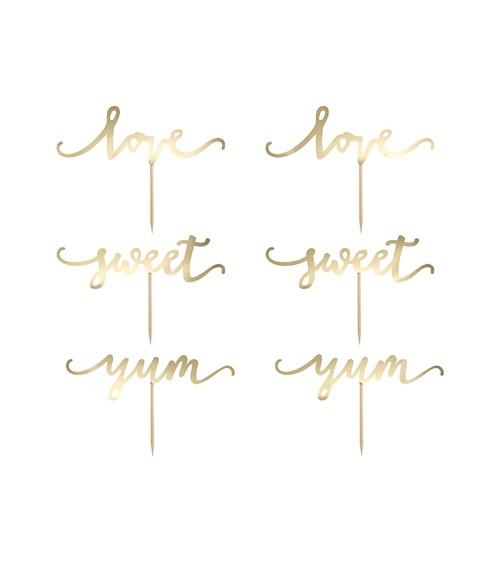 """Cupcake-Picks """"love, sweet, yum"""" - gold metallic - 6-teilig"""