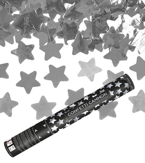 Konfetti-Kanone mit Sternen - silber - 40 cm