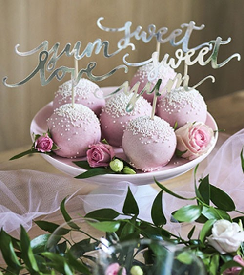 "Cupcake-Picks ""love, sweet, yum"" - silber metallic - 6-teilig"