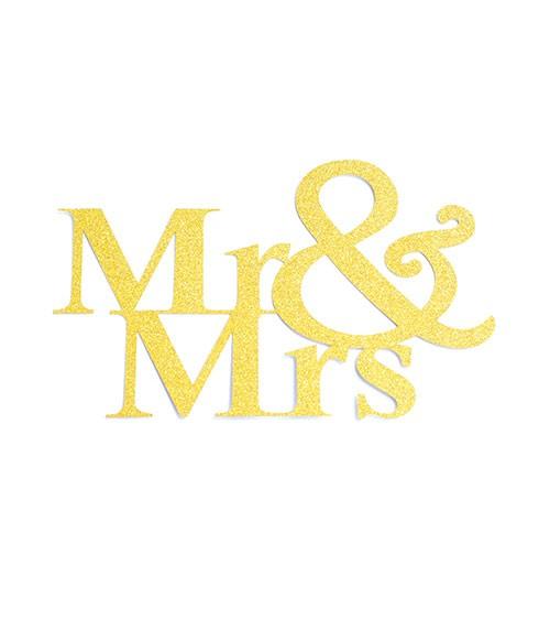 """Papier-Deko """"Mr & Mrs"""" - gold - 14,5 x 9 cm - 3 Stück"""