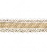 Jute-Band mit Spitzenrand - 4 cm x 5 m