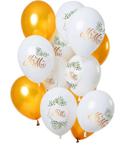 """Luftballon-Set """"Mr & Mrs"""" - Gold & Weiß - 12-teilig"""