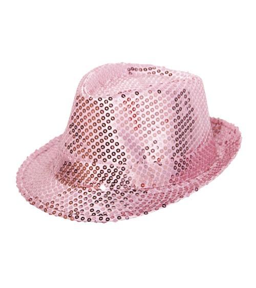 Trilby-Hut mit Pailletten - rosa