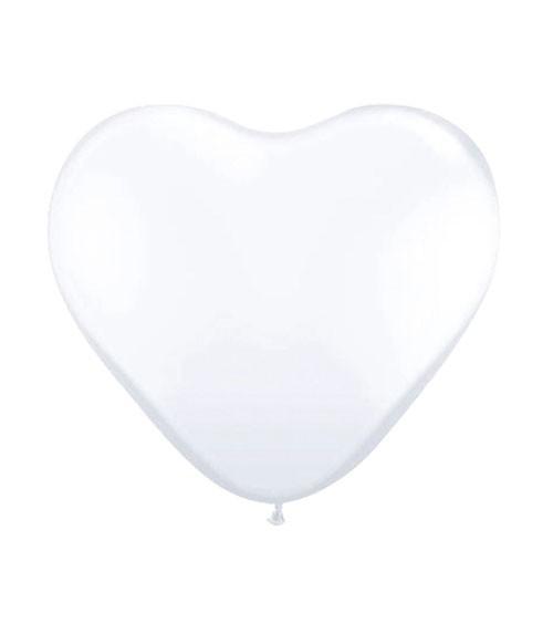 Herz-Luftballons - 30 cm - weiß - 8 Stück