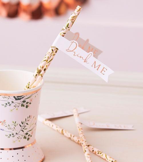"Papierstrohhalme mit Flaggen ""Botanical Tea Party"" - 16 Stück"
