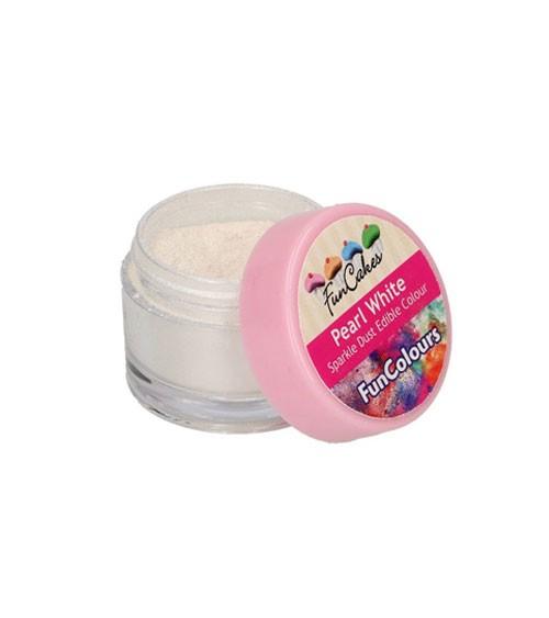 Funcakes Lebensmittelfarbe Pulver - glitter perlweiß - 3,5 g