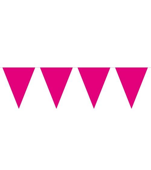 Mini-Wimpelgirlande aus Kunststoff - pink - 3 m