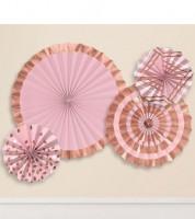 Papierfächer-Set - rosegold/rosa - 4-teilig