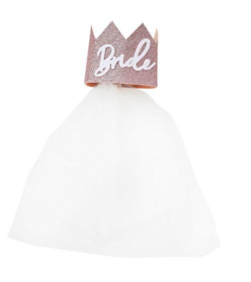 Bride-Krone aus Papier mit Schleier - glitter rosegold