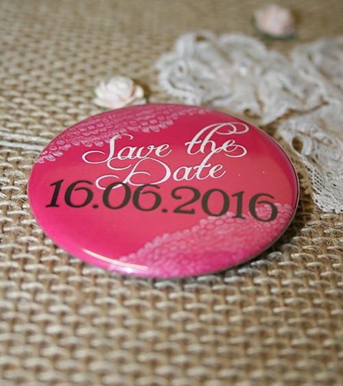 Dein Button: Save the Date - Vintage pink - 56 mm