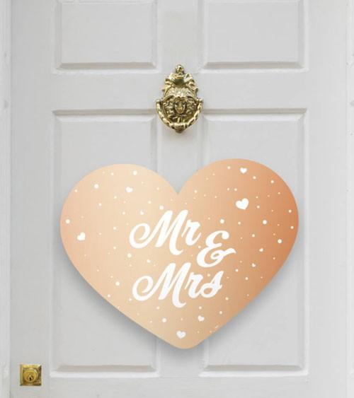 "Herz-Wanddekoration ""Mr & Mrs"" - metallic rosegold"