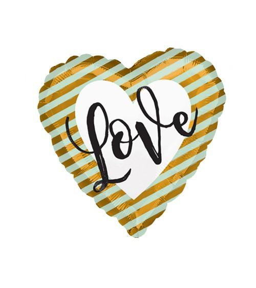 "Herz-Folienballon mit Streifen ""Love"" - gold/mint"