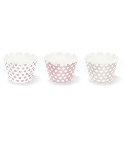 Cupcake-Wrapper mit Punkten - rosa-weiß - 6 Stück