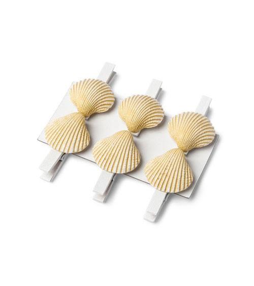 Kleine Holzklammern mit Muschel - 4,5 cm - 6 Stück