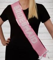 Bridesmaid-Schärpen - pink/weiß - 2 Stück