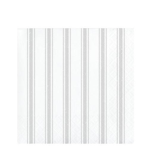 Cocktail-Servietten mit Streifen - weiß/grau - 16 Stück