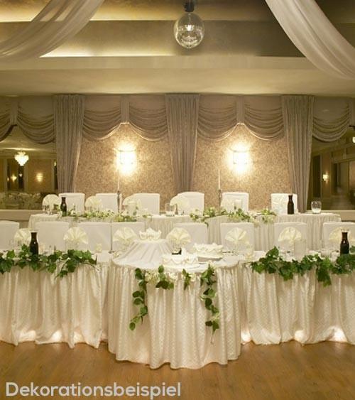 Tischverkleidung aus Stoff - glänzendweiß - 4 m