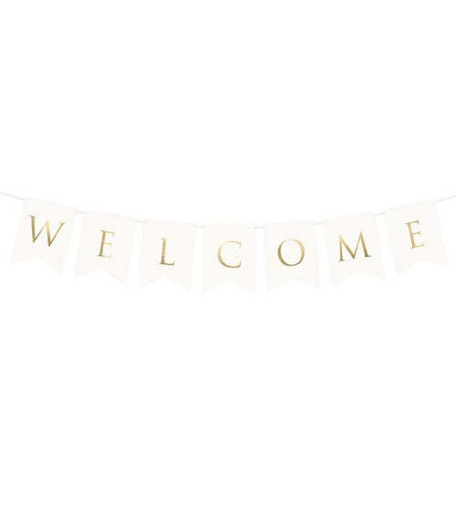 "DIY-Wimpelgirlande ""Welcome"" - weiß/gold - 95 cm"