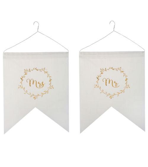 """Mr & Mrs-Stuhlschilder aus Stoff """"Gold & White"""" - 2-teilig"""