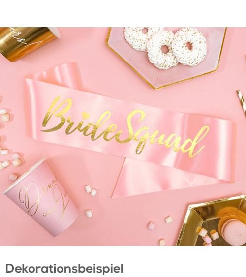 "Satin-Schärpe ""Bride Squad"" - rosa/gold - 75 cm"