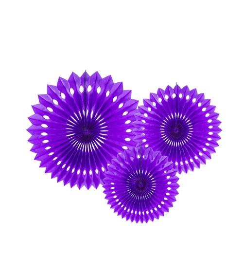 Rosetten-Set - violett - 3-teilig