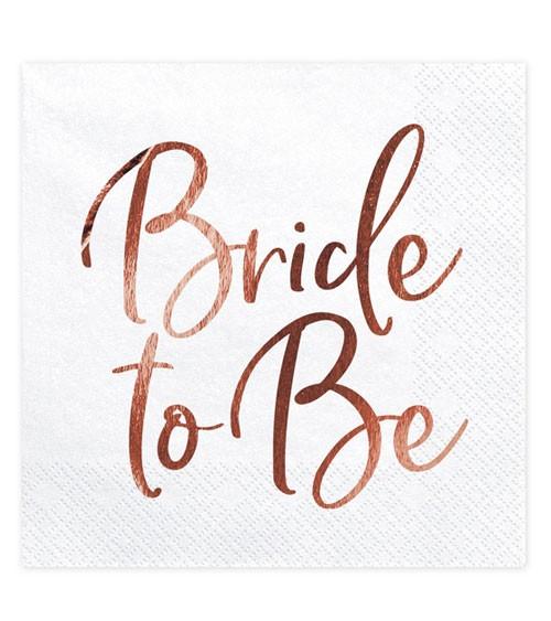 """Servietten """"Bride to Be"""" - weiß/rosegold - 20 Stück"""