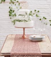Tischlaufer Mit Pailletten Rosegold 30 X 275 Cm
