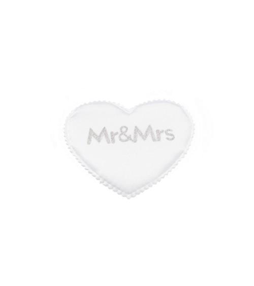 """Satin-Herzen """"Mr & Mrs"""" - weiß/silber - 5 cm - 12 Stück"""