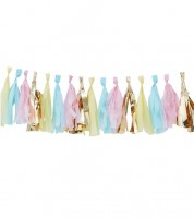 DIY-Tasselgirlande - pastell/gold metallic - 17-teilig