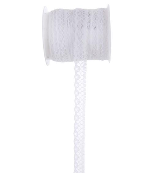 Schmales Spitzenband - weiß - 10 mm x 5 m