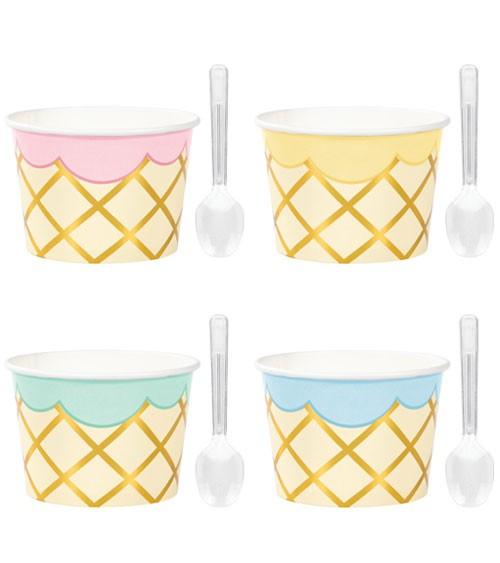 Eisbecher mit goldenem Muster und Mini-Löffeln - Pastell - 8 Stück